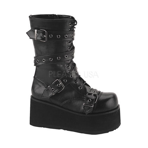 Demonia,DEMONIA TRASHVILLE-205 Men's Black Pu Vegan Boots - Shoecup.com