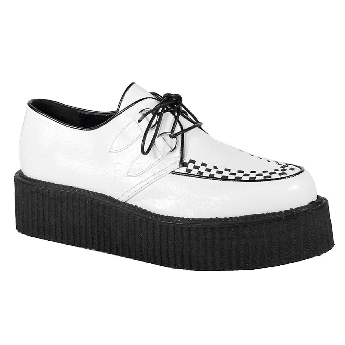 DEMONIA V-CREEPER-502 Men's White Pu Creepers - Shoecup.com - 1