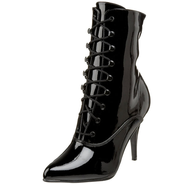 """Vanity Boots: Pleaser VANITY-1020 Black Patent 4"""" Ankle Boots"""