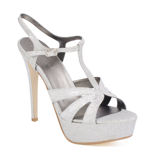 "6"" Heel Silver Glitter Plus Size T-Strap Sandal For Men 