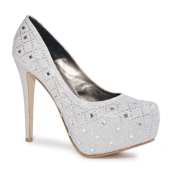 "6"" Heel Silver Glitter High Heel Pumps For Men 