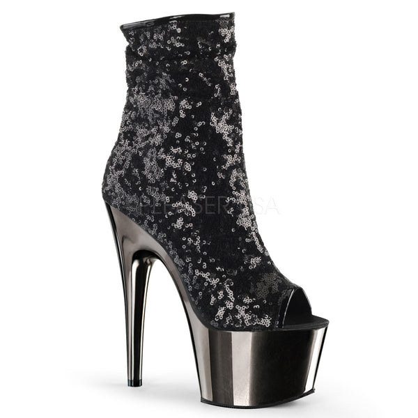 Pleaser ADORE-1008SQ Black Sequins Ankle Boots With Black Platform - Shoecup.com - 1