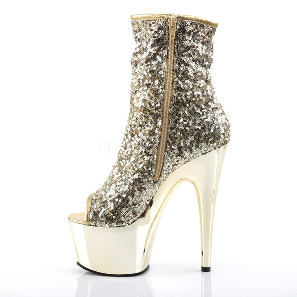Pleaser ADORE-1008SQ Gold Sequins Ankle Boots With Gold Chrome Platform - Shoecup.com - 3