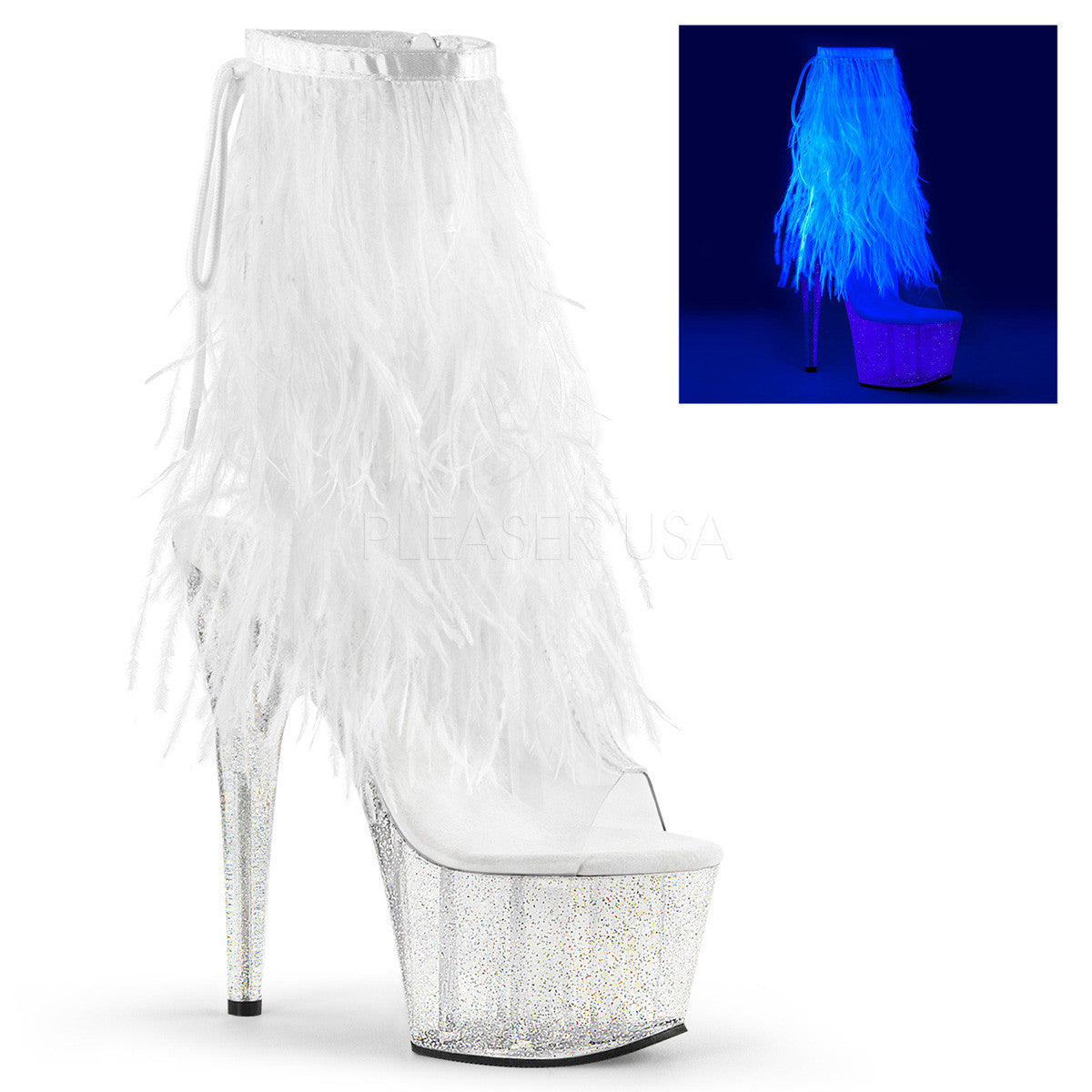 Pleaser ADORE-1017MFF White Marabou Fringe Ankle Boots - Shoecup.com - 1
