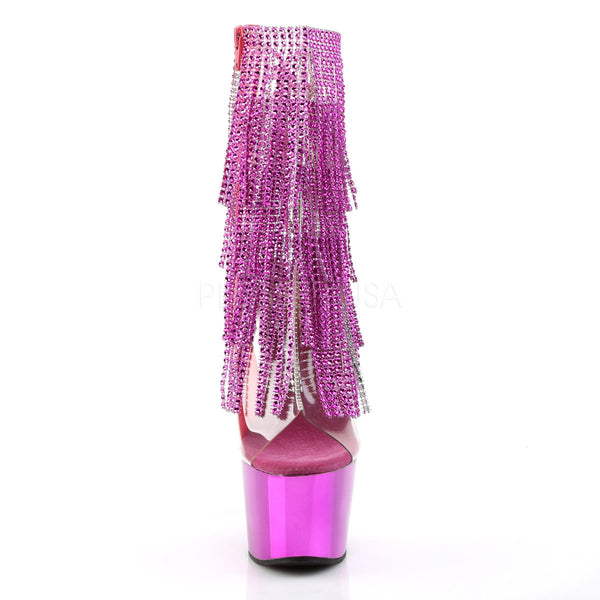 Pleaser ADORE-1017RSF Clear-Multi Color Ankle Boots With Fuchsia Chrome Platform - Shoecup.com - 2