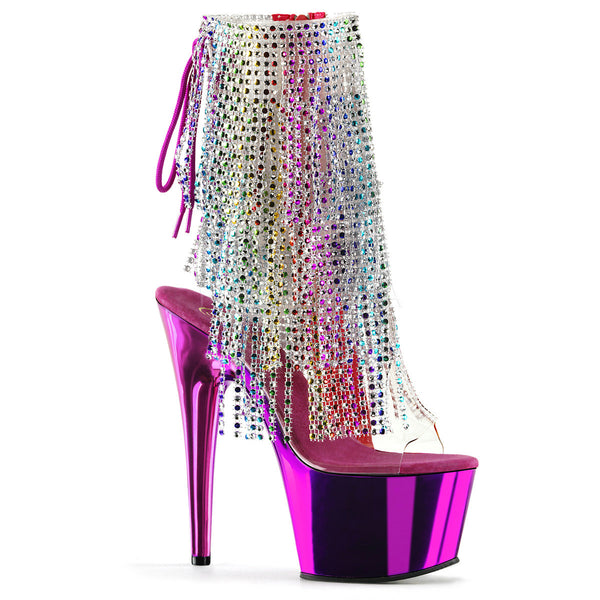 Pleaser ADORE-1017RSF Clear-Multi Color Ankle Boots With Fuchsia Chrome Platform - Shoecup.com - 1