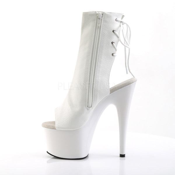 Pleaser ADORE-1018 White Pu Ankle Boots - Shoecup.com - 3
