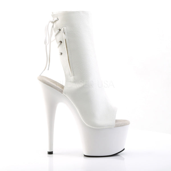 Pleaser ADORE-1018 White Pu Ankle Boots