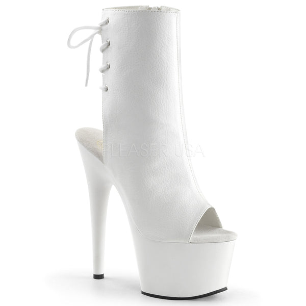 Pleaser ADORE-1018 White Pu Ankle Boots - Shoecup.com - 1