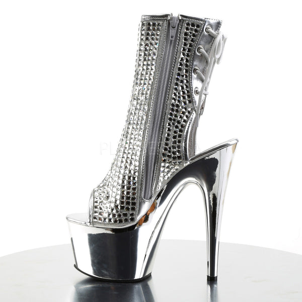 Pleaser ADORE-1018DCS Silver Rhinestone Ankle Boots With Silver Chrome Platform - Shoecup.com - 3