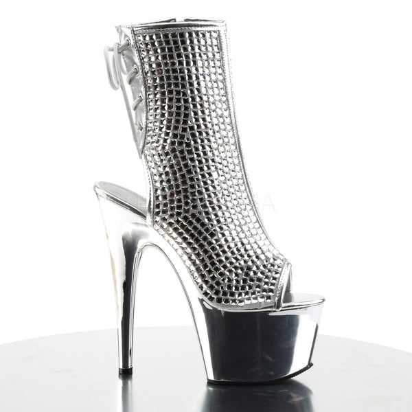 Pleaser ADORE-1018DCS Silver Rhinestone Ankle Boots With Silver Chrome Platform - Shoecup.com - 5