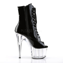 PLEASER ADORE-1021 Black Pat-Clear Ankle Boots