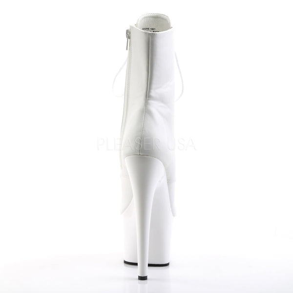 Pleaser ADORE-1021 White Faux Leather Ankle Boots With White Platform - Shoecup.com - 4