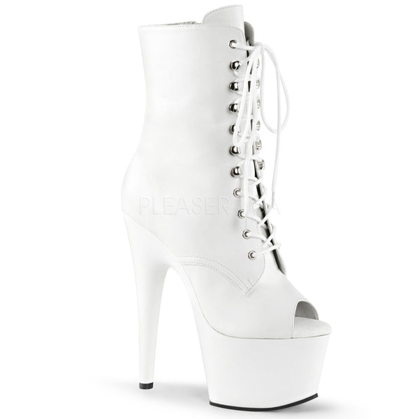 Pleaser ADORE-1021 White Faux Leather Ankle Boots With White Platform - Shoecup.com - 1