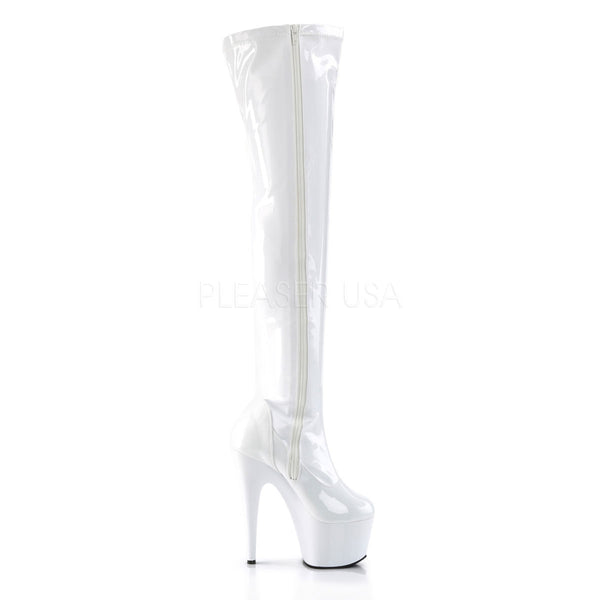 PLEASER ADORE-3000 White Stretch Pat Thigh High Boots