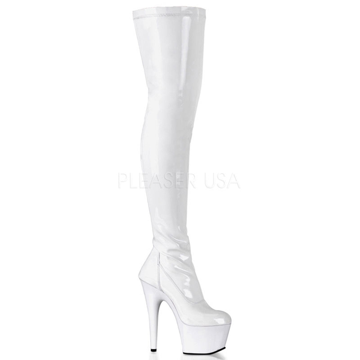 PLEASER ADORE-3000 White Stretch Pat Thigh High Boots - Shoecup.com - 1