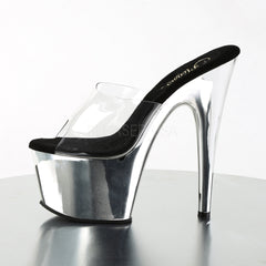 PLEASER ADORE-701 Clear-Silver Chrome Platform Slides - Shoecup.com - 3