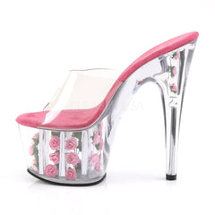 PLEASER ADORE-701FL Clear-Hot Pink Flowers Platform Slides - Shoecup.com - 3