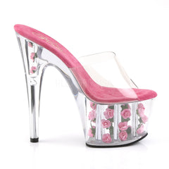 PLEASER ADORE-701FL Clear-Hot Pink Flowers Platform Slides