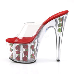 PLEASER ADORE-701FL Clear-Red Flowers Platform Slides - Shoecup.com - 3