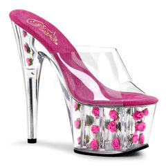 PLEASER ADORE-701FL Clear-Hot Pink Flowers Platform Slides - Shoecup.com - 1