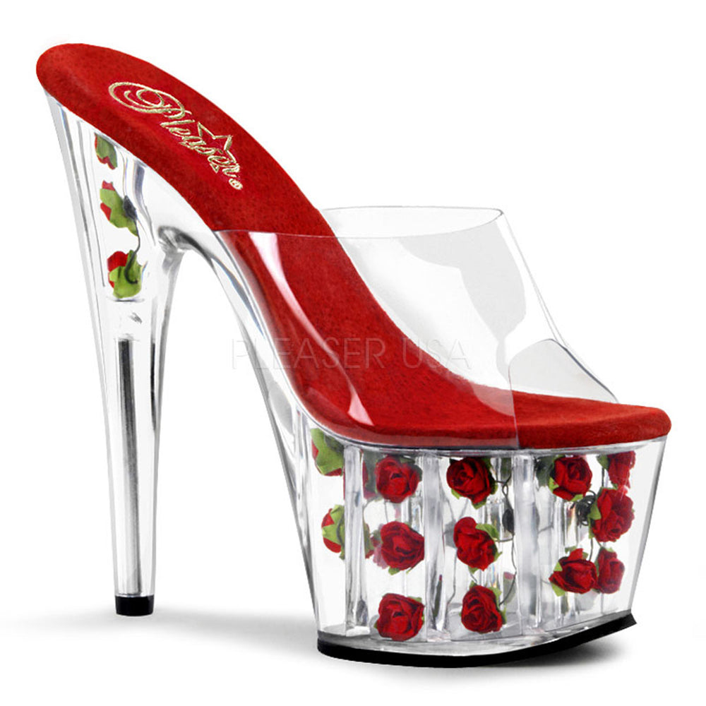 PLEASER ADORE-701FL Clear-Red Flowers Platform Slides