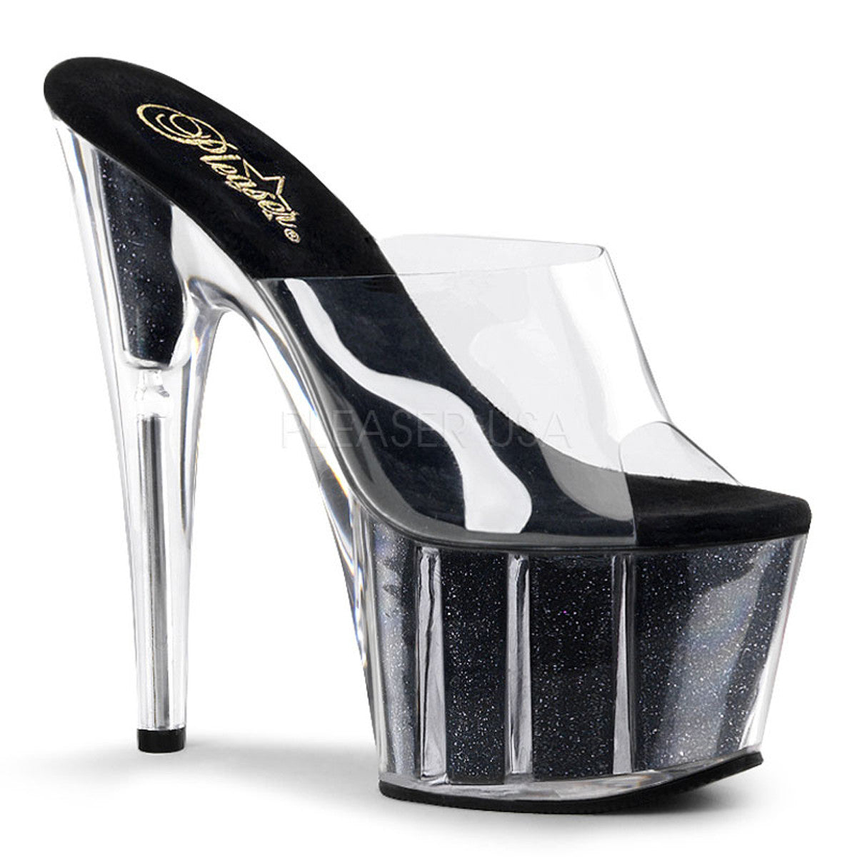 PLEASER ADORE-701G Clear-Black Glitter Platform Slides - Shoecup.com - 1