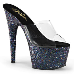 Pleaser ADORE-701LG Clear with Black Holo Glitter Platform Slides - Shoecup.com - 1