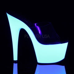 Pleaser ADORE-701UV Clear With Neon White Platform Slides - Shoecup.com - 5