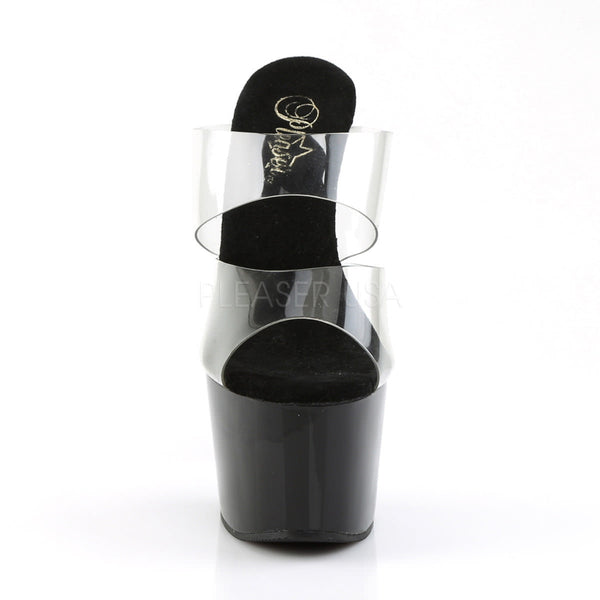 PLEASER ADORE-702 Clear-Black Stiletto Slides - Shoecup.com - 2