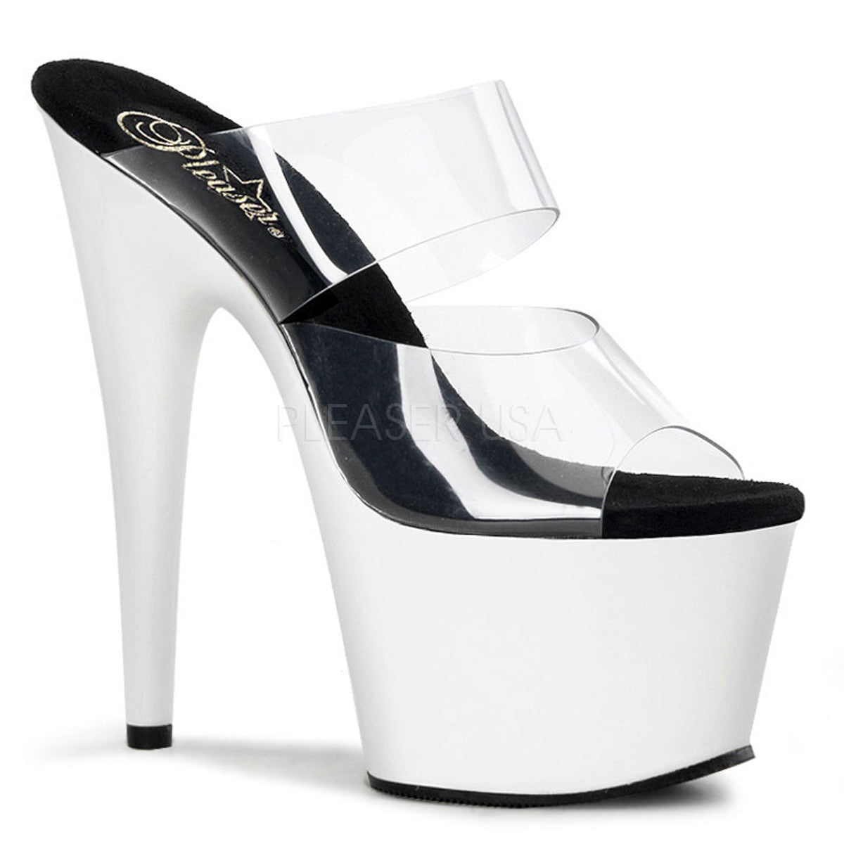 PLEASER ADORE-702UV Clear-Neon White Stiletto Slides - Shoecup.com - 1