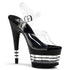 PLEASER ADORE-708LN Clear-Black Ankle Strap Sandals - Shoecup.com - 1