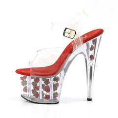 PLEASER ADORE-708FL Clear-Red Flowers Ankle Strap Sandals - Shoecup.com - 3