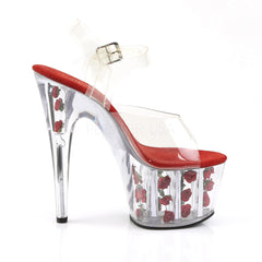 PLEASER ADORE-708FL Clear-Red Flowers Ankle Strap Sandals