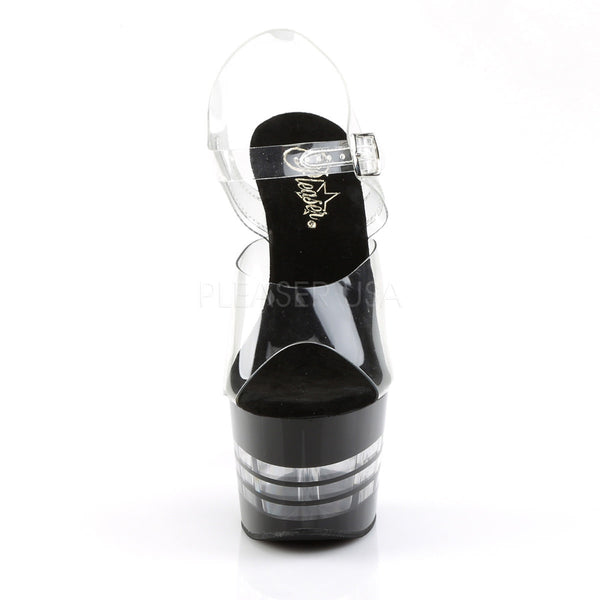PLEASER ADORE-708LN Clear-Black Ankle Strap Sandals - Shoecup.com - 2