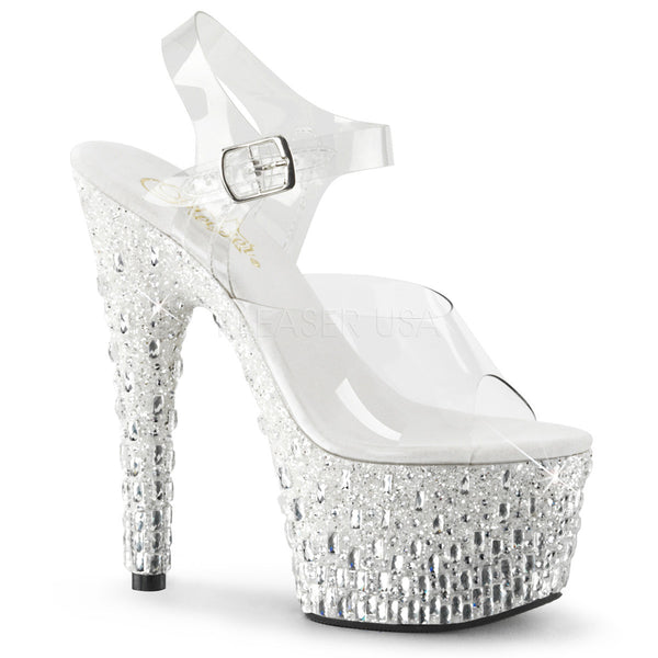 Pleaser ADORE-708MR-5 Clear With White-Silver Platform Ankle Strap Sandals - Shoecup.com - 1
