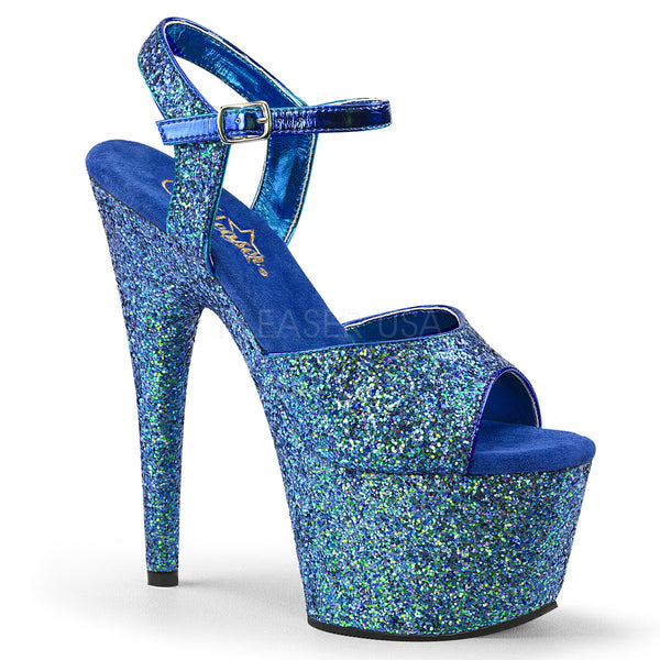 "7"" Heel ADORE-710LG Blue Holo Exotic Dancing Shoes"