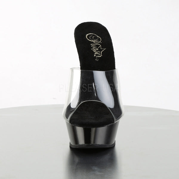 PLEASER ALLURE-601 Clear-Black Stiletto Sandals - Shoecup.com - 2