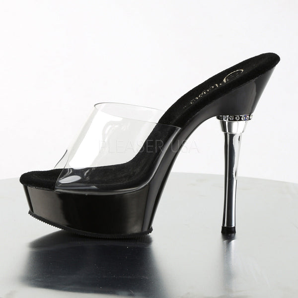 PLEASER ALLURE-601 Clear-Black Stiletto Sandals - Shoecup.com - 3