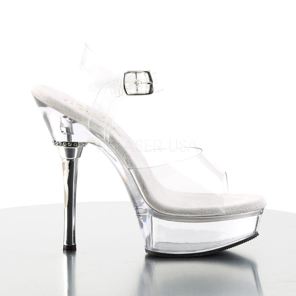 PLEASER ALLURE-608 Clear Stiletto Sandals