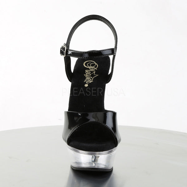 PLEASER ALLURE-609 Black Pat-Clear Stiletto Sandals - Shoecup.com - 2