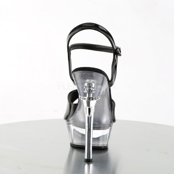 PLEASER ALLURE-609 Black Pat-Clear Stiletto Sandals - Shoecup.com - 4