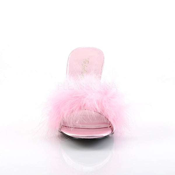 FABULICIOUS AMOUR-03 Baby Pink Satin-Fur Classic Slippers - Shoecup.com - 2
