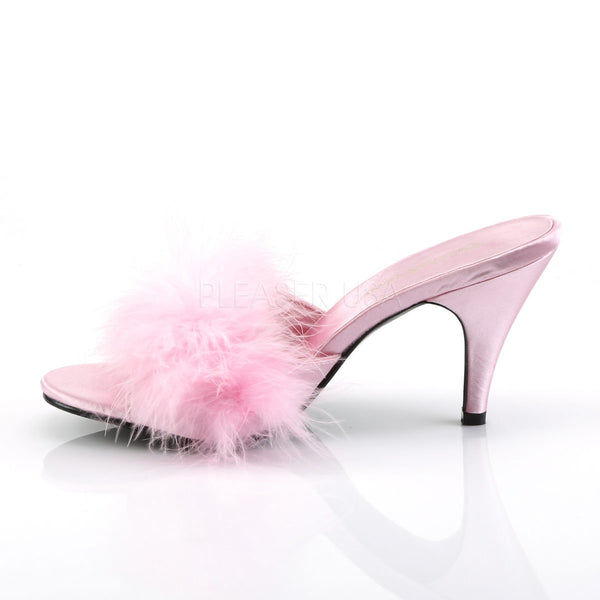 FABULICIOUS AMOUR-03 Baby Pink Satin-Fur Classic Slippers - Shoecup.com - 3