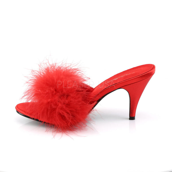 FABULICIOUS AMOUR-03 Red Satin-Fur Classic Slippers - Shoecup.com - 3