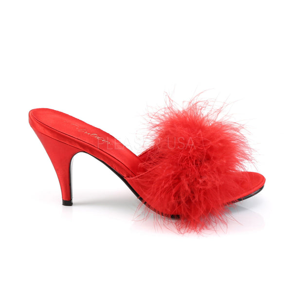 FABULICIOUS AMOUR-03 Red Satin-Fur Classic Slippers - Shoecup.com - 5