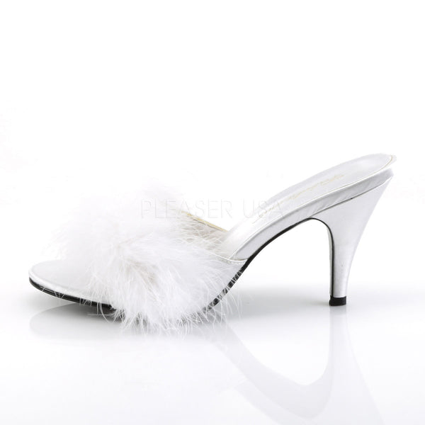 FABULICIOUS AMOUR-03 Wht Satin-Fur Classic Slippers - Shoecup.com - 3