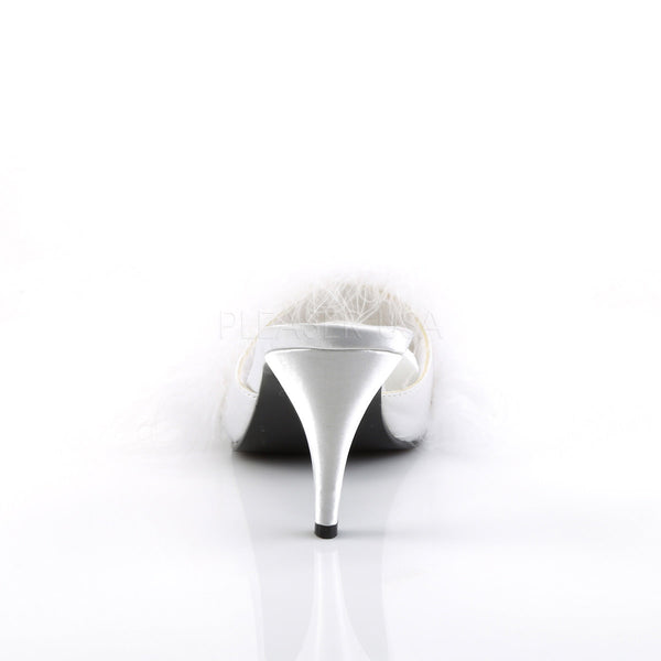 FABULICIOUS AMOUR-03 Wht Satin-Fur Classic Slippers - Shoecup.com - 4