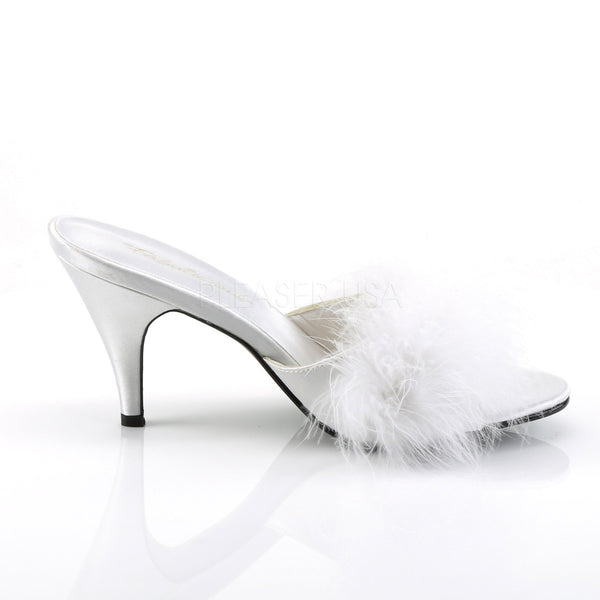 FABULICIOUS AMOUR-03 Wht Satin-Fur Classic Slippers - Shoecup.com - 5