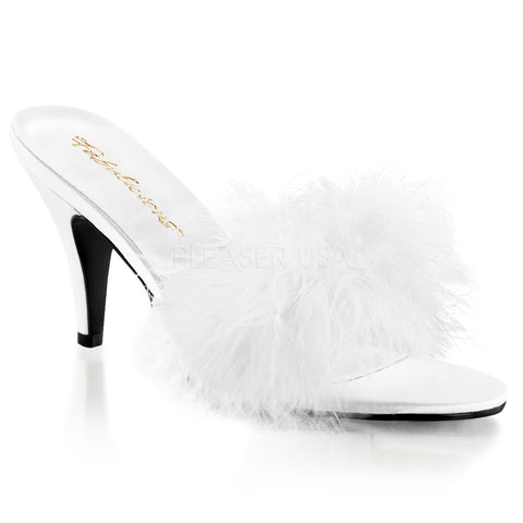 Fabulicious,FABULICIOUS AMOUR-03 Wht Satin-Fur Classic Slippers - Shoecup.com
